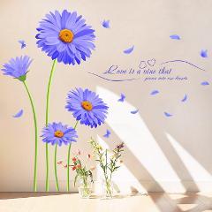 Netherlands Chrysanthemum Flower Wall Sticker PVC Material Aster novi-belgii Mural Art for Living Room Decoration