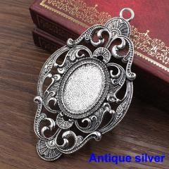 Fit 18x25mm Oval cabochons  Vintage Glass cameos Frame Settings Bezel Tray For DIY Necklace Making accessory 5pcs/lot K05426