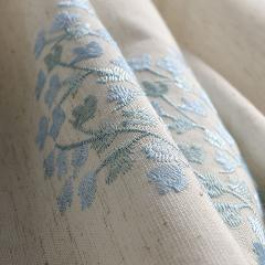 Cotton Linen Embroidered Curtains For Living Room Floral Blinds Drapes for Bedroom Blue Tents Window Treatments Chinese Cortinas