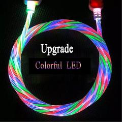 Micro USB Cable Type C USB C Moible Phone Charger cable charge for iPhone Samsung Xiaomi 2m Long LED Lighting Charging Cable