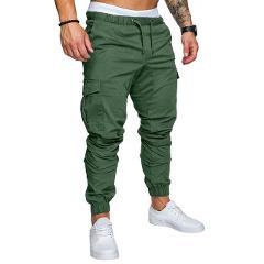 2020 Men New Casual Cargo Pants Plus Size Sport Joggers Trousers Black Fitness Gym Clothing Pockets Leisure Sweatpants Fit