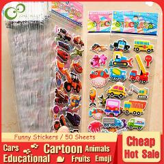 50Sheets Cartoon Cars Aircraft Animals Princess DIY Stickers Toys PVC Scrapbook for Children Diary Notebook Decoration Gifts GYH